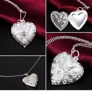 Silver and crystal heart locket